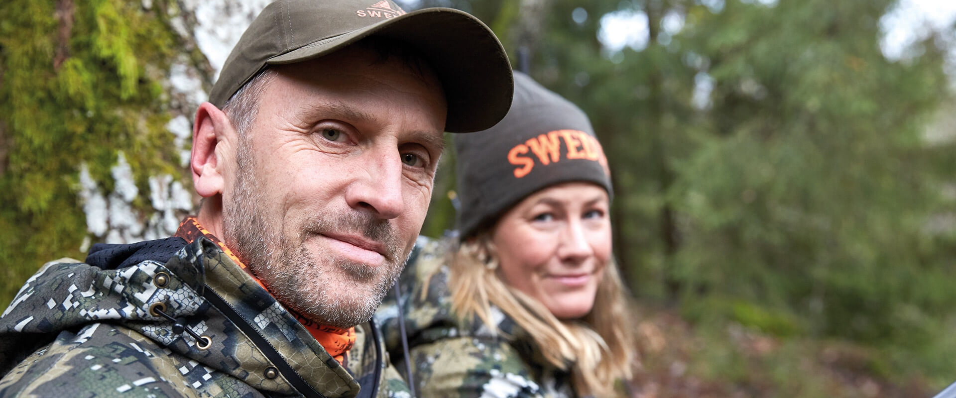 Hunters dressed in camouflage caps with DESOLVE® pattern